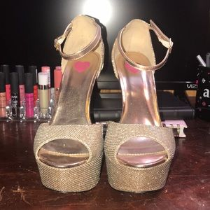 Rose Gold Two Texture Heels